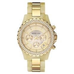 Michael Kors Women's Glitz Chronograph Horn and Gold Watch