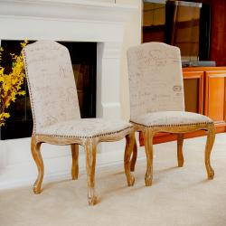 Studded Beige Script Fabric Dining Chairs (Set of 2)