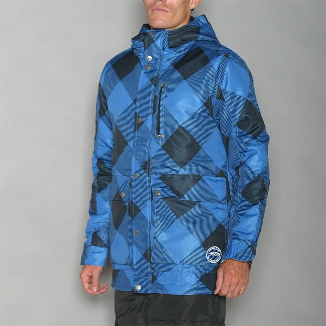 Pipeline Men's Check Line Blue Snowboard Jacket
