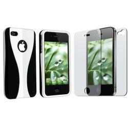 White Rubber Coated Case/ 2-LCD Screen Protector for Apple iPhone 4G