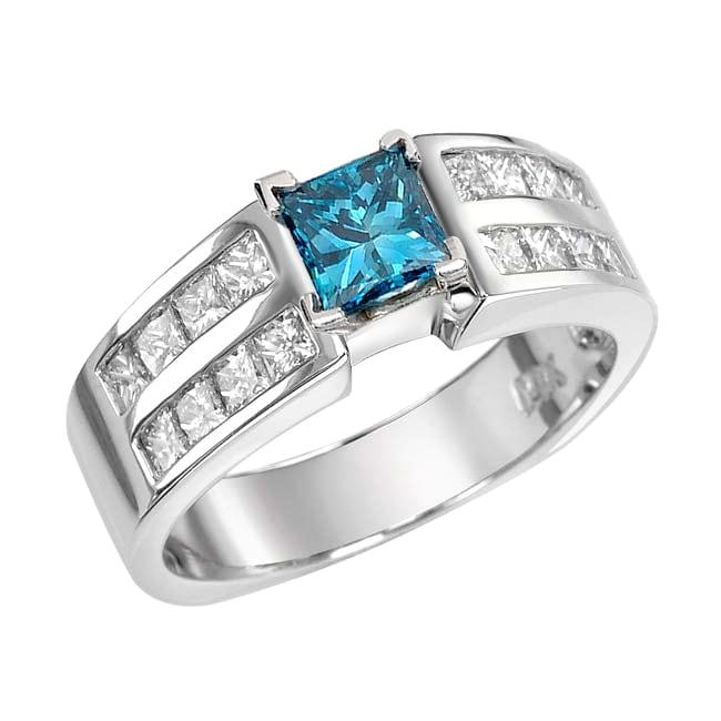 14k White Gold 1 5/8ct TDW Blue and White Diamond Ring (G, SI2)