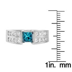 14k White Gold 1 5/8ct TDW Blue and White Diamond Ring (G, SI2)