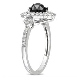 Miadora 10k White Gold 1ct TDW Black and White Diamond Heart Halo Ring (G-H, I2-I3)
