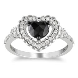 Miadora 10k Gold 1ct TDW Black and White Diamond Heart Ring (G-H, I2-I3)