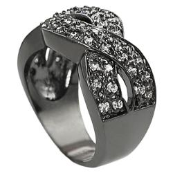 Journee Collection Black Rhodium-plated Brass CZ Twist Ring