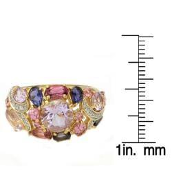 Beverly Hills Charm 14k Yellow Gold Multi-gemstone and 1/10ct TDW Diamond Ring