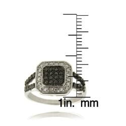 Finesque Silver Overlay Diamond Accent Black and White Square Ring