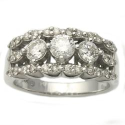 14k White Gold 1ct TDW Diamond 3-stone Anniversary Ring (H-I, I1)