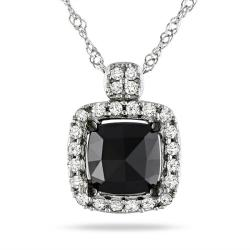 Miadora 14k White Gold 1ct TDW Black and White Diamond Halo Necklace (G-H, I1-I2)