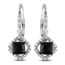 Miadora 10k White Gold 1ct TDW Black and White Diamond Halo Earrings(G-H, I2-I3)