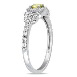 Miadora 14k Gold 1/2ct TDW Yellow and White Diamond Halo Ring (G-H, I1-I2)