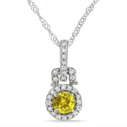 Miadora 14k White Gold 1/4ct TDW Yellow and White Diamond Necklace (G-H, I1-I2)