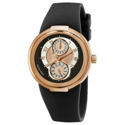 Philip Stein Men's 'Active' Black Rubber Strap Rose Goldtone Watch