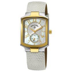 Philip Stein Women's Classic White Strap Two Tone Watch