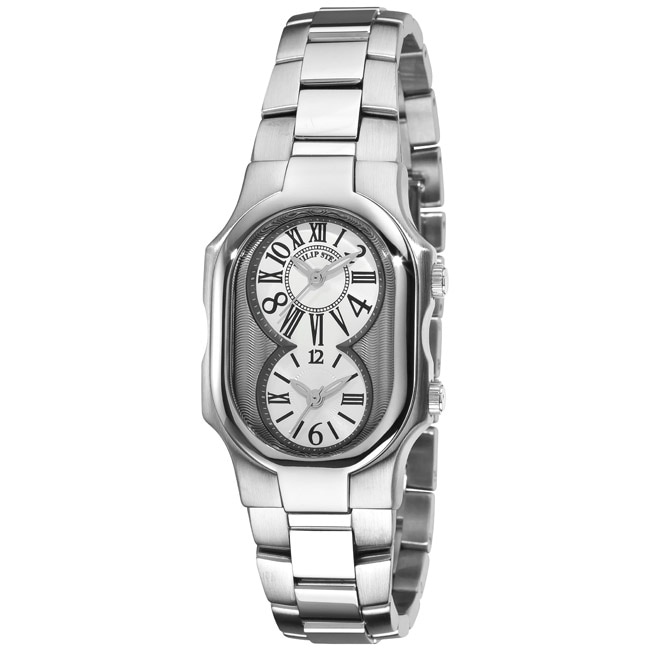 Philip Stein Women's 'Signature' Stainless Steel Dual Time Watch