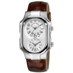 Philip Stein Men's 'Signature' Chocolate Leather Strap Dual Time Watch