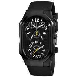 Philip Stein Men's 'Signature' Black Rubber Strap Chronograph Watch