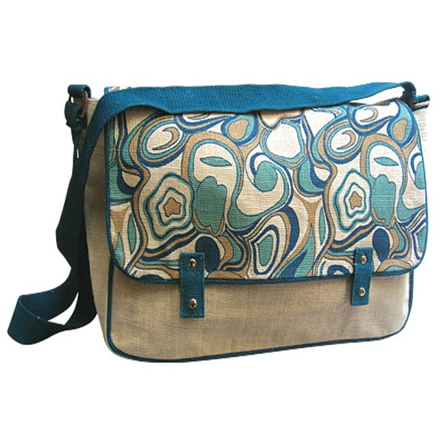 Blue Harmony Abstract Print Shoulder Bag
