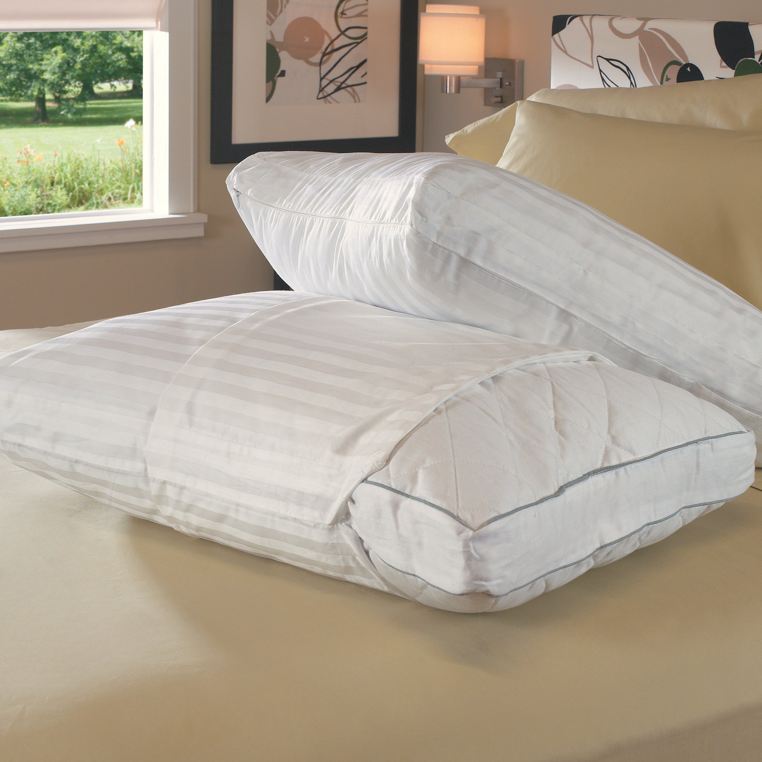 Rest Fresh Antimicrobial 400 Thread Count Gusseted Zip Pillow Protectors (Set of 2)