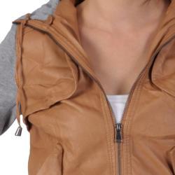 Miss Posh by Journee Juniors PU Leather Knit-sleeve Varsity Jacket