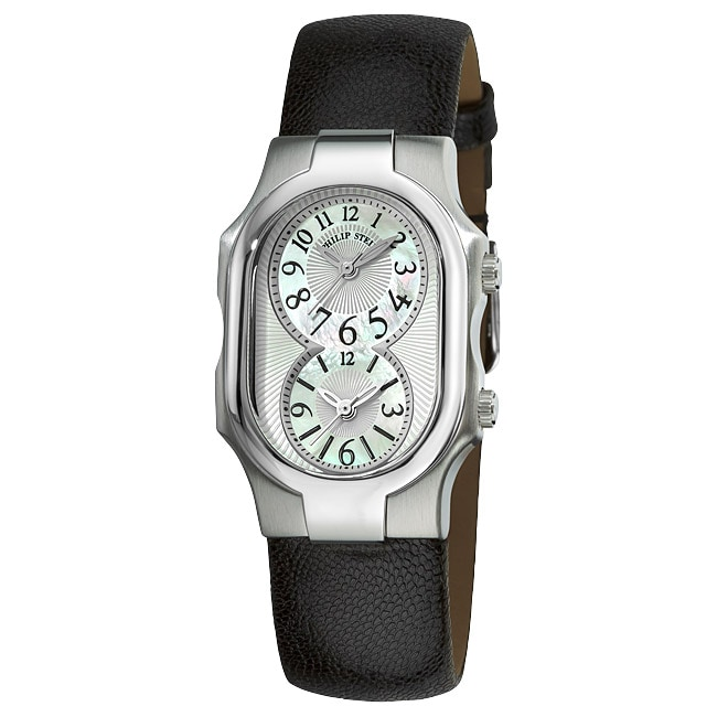 Eziba Collection Philip Stein Women's 'Signature' Black Leather Strap Dual Time Watch at Sears.com