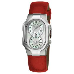 Philip Stein Women's 'Signature' Red Leather Strap Dual-Time Quartz Watch