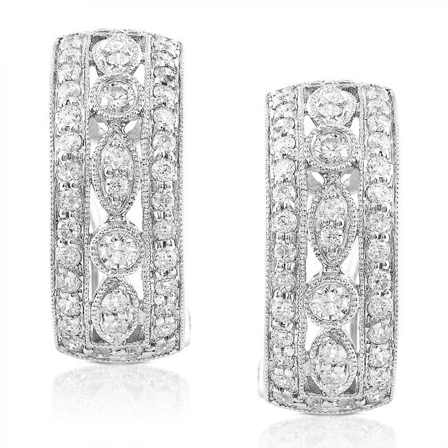 14k White Gold 7/8ct TDW Diamond Earrings (G-H, SI1-SI2)