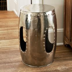 Round Mirror Nickel Rivet Barrel Stool (India)