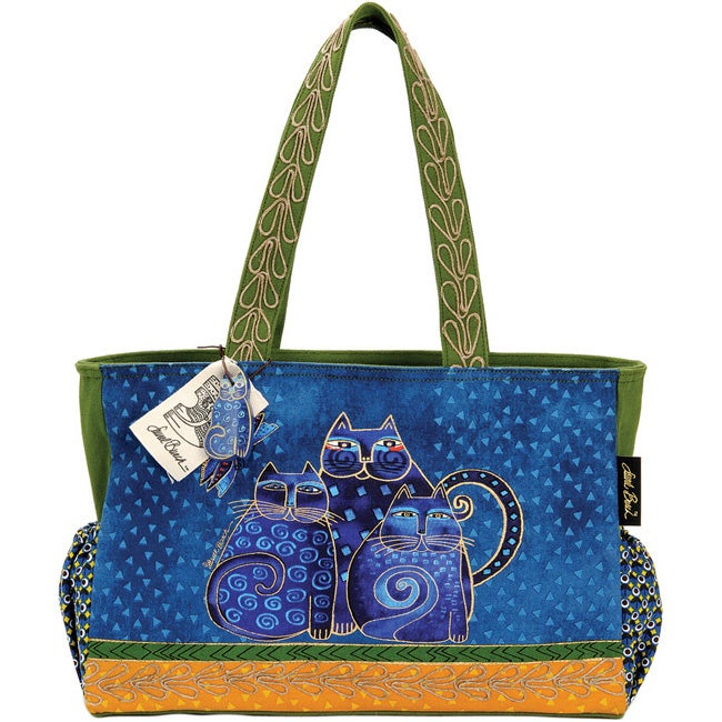 Laurel Burch Indigo Cat Family Artistic Totes Medium Tote