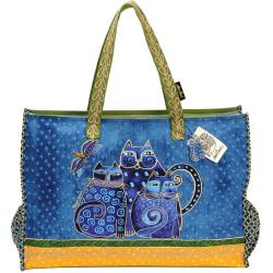 Laurel Burch Indigo Cats Oversized Zip Top Tote