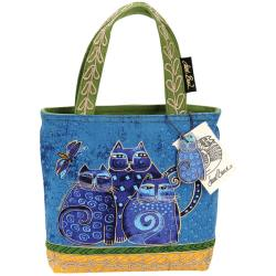 Laurel Burch Medium Indigo Cat Zipper Tote (10 x 3 x 8.5)