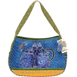 Laurel Burch Indigo Cats Zip Top Medium Hobo Bag