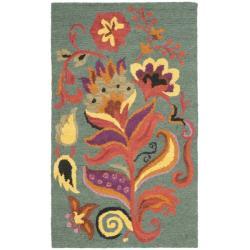 Safavieh Traditional Handmade Blossom Blue Wool Rug (3' x 5')