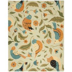 Handmade Blossom Swallow Sage Wool Rug (8' x 10')