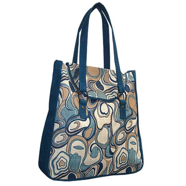 Aquarelle Blue Jute Tote Bag