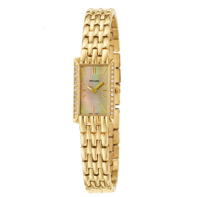 Pulsar Women's 'Crystal' Yellow Goldplated Stainless Steel Quartz Watch