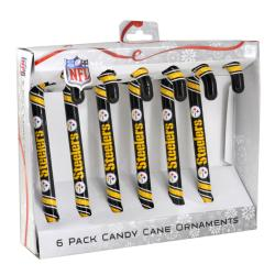 Pittsburgh Steelers Plastic Candy Cane Ornament Set