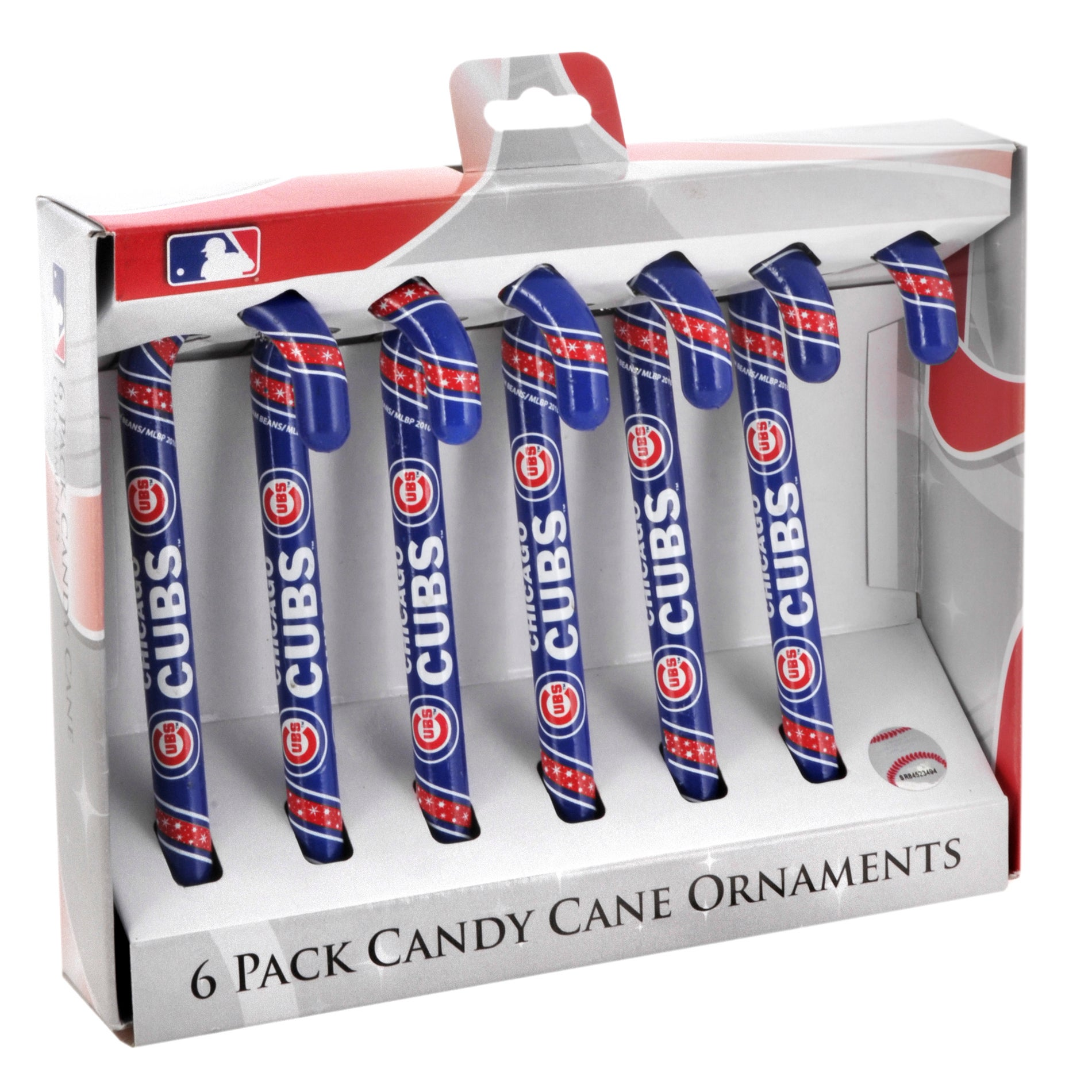 Chicago Cubs Plastic Candy Cane Ornament Set