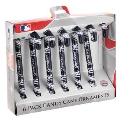New York Yankees Plastic Candy Cane Ornament Set