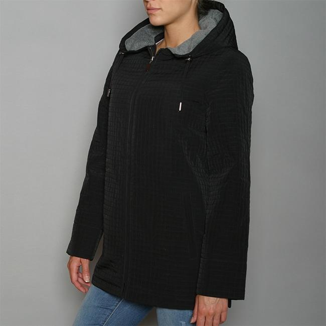 Aeros by Kristen Blake Women's Black Zip-front Hooded Jacket
