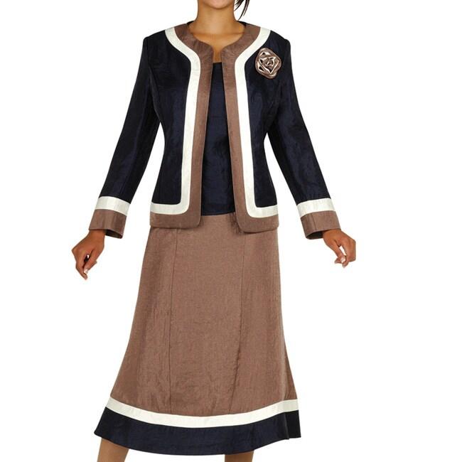 Fantastic Giovanna Signature Women39s Ruffle Collar 3 Piece Skirt Suit  EBay