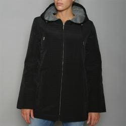 Aeros by Kristen Blake Women's Black Zip-front Hooded Jacket