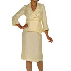 Divine Apparel Women's Shimmer Fabic Skirt Suit