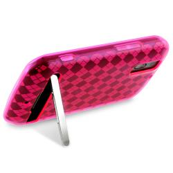 Pink Argyle TPU Rubber Skin Case for Motorola Photon 4G MB855