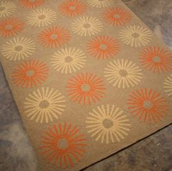 Hand-hooked Abstract Brown Rug (7'6 x 9'6)