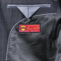 Men's Charcoal Windowpane Grey 3-button Wool Suit