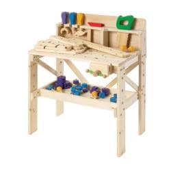 TreeHaus Children's Wooden Work Bench with Tools and Hardware