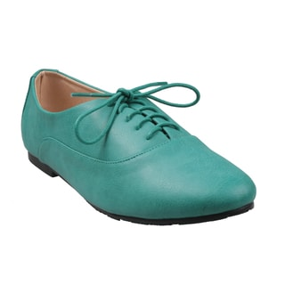 Turquoise Refresh by Beston Women's 'Galen-01' Low Top Lace-Up Oxford Shoes