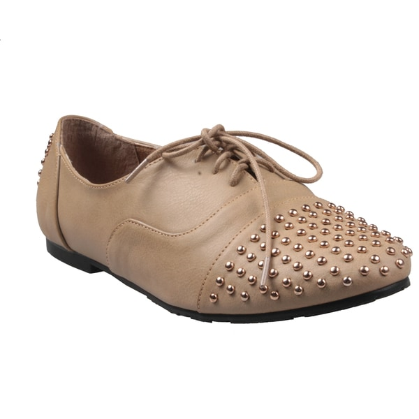 Refresh by Beston Women's 'Galen-02' Taupe Studded Toe Oxford Shoes