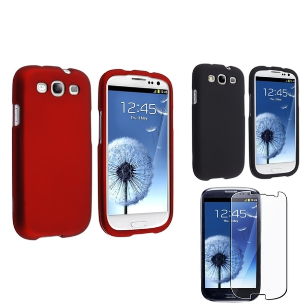 INSTEN Black Phone Case Cover/ Red Phone Case Cover/ Protector for Samsung Galaxy S III/ S3